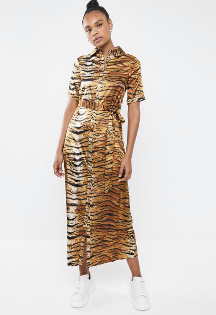 647020edc47 Missguided Tiger Print Midi Dress (R749). I realise that this is quite a  statement, but if you're comfortable with it, it's a one item outfit!