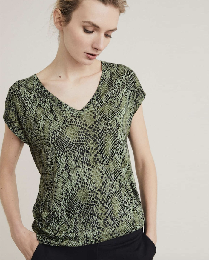 3f950b2a07e CLOTHING. Witchery Snake Print Linen V Tee (R499). The deep green hues  makes this a great starter piece. Missguided Tiger Print Midi Dress ...